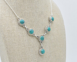 TURQUOISE NECKLACE NATURAL GEM 925 STERLING SILVER JN93