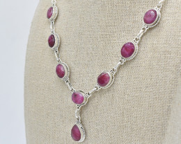 RUBY  NECKLACE NATURAL GEM 925 STERLING SILVER JN104