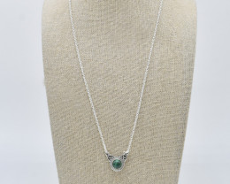 MALACHITE NECKLACE NATURAL GEM 925 STERLING SILVER JN87