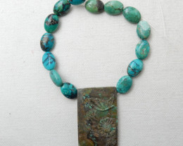 153cts Turquoise Necklace ,Carved Flower Turquoise Necklace ,Turquoise Bead