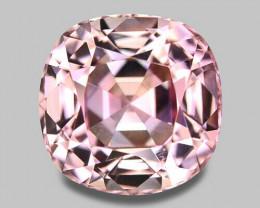 Exquisite precision cushion cut natural pink tourmaline.