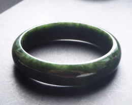 Dark green Type A  natural Jadeite bangle
