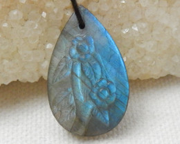 18.5Cts New Design Shining Labradorite Carving Flower Pear Charm Bead E792