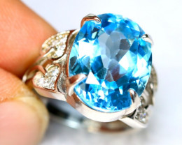 32.15Ct Natural Blue Topaz 925 Sterling Silver Woman Flower Ring B1502