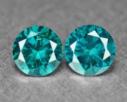 0.37 Cts  2Pcs Sparkling Rare Fancy Intense Blue Color Natural Loose Diamon