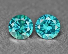 0.38 Cts 2Pcs Sparkling Rare Fancy Intense Blue Color Natural Loose Diamond