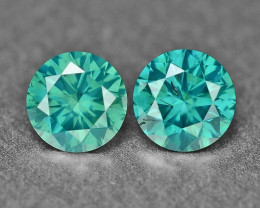 0.37 Cts 2Pcs Sparkling Rare Fancy Intense Blue Color Natural Loose Diamond