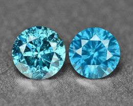 0.34 Cts 2Pcs Sparkling Rare Fancy Intense Blue Color Natural Loose Diamond