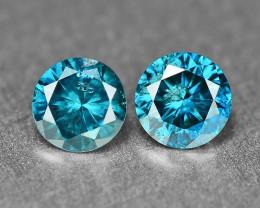 0.33 Cts 2Pcs Sparkling Rare Fancy Intense Blue Color Natural Loose Diamond