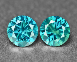 0.34 Cts 2Pcs Sparkling Rare Fancy Intense Blue Color Natural Loose Diamond