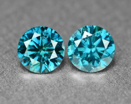 0.40 Cts 2Pcs Sparkling Rare Fancy Intense Blue Color Natural Loose Diamond
