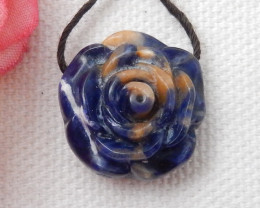 Natural Sodalite Flower Carving Charm Bead,20.75 Cts E823