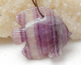 74cts Beautiful Fluorite Fish Pendant,Healing Stone E834
