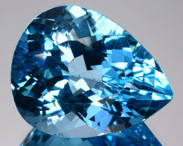 30.78 Cts Genuine Natural Blue Topaz 21 X 17mm Pear Brazil Gem