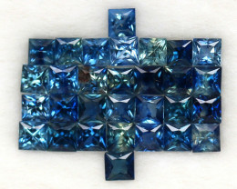 4.03 ct. 2.6-2.8 mm .PRINCESS CUT BLUE SAPPHIRE NATURAL GEMSTONE 30PCS.