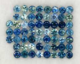 4.04 ct. 2.4 mm. DIAMOND CUT MULTI COLOR SAPPHIRE NATURAL GEMSTONE 59PCS.