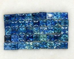 4 .0 ct. 2.3-2.5 mm. NATURAL GEMSTONE BLUE SAPPHIRE PRINCESS CUT 45PCS.