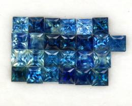 4.03 ct. 2.8-3 mm. PRINCESS CUT BLUE SAPPHIRE NATURAL GEMSTONE 25PCS.