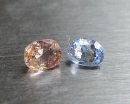 Natural light blue and pinkish orange sapphire