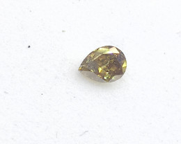 0.13ct  Fancy  Deep Yellow Green Diamond , 100% Natural Untreated