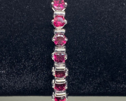 (10) Beautiful Nat 81.25tcw. Rhodolite Garnet And Ruby Bracelet