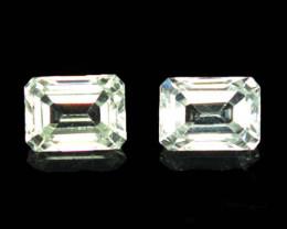 3.15 Cts Natural Sparkling White Zircon 7x5mm Octagon Cut 2Pcs Tanzania