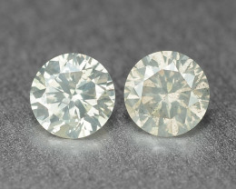 0.22 Cts 2Pcs Untreated Fancy Light Grey Natural Loose Diamond