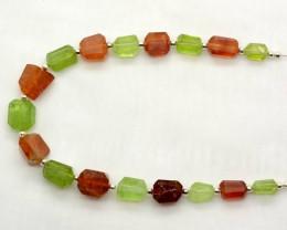 85 CT Beautiful Hessonite Garnet & Peridot Drilled Fecated Beads@Pakistan