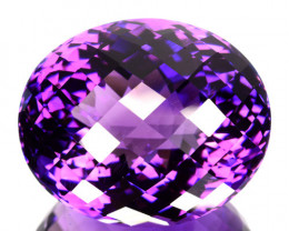 54.80 Cts Natural Purple Amethyst Oval (Checkerboard Cut) Bolivia Gem