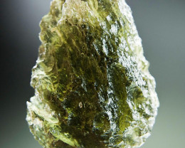 CERTIFIED Shiny Natural Raw Moldavite with open bubble