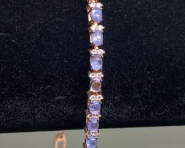 (36) Wonderous Nat 47.0tcw. Top Nice Violet Blue Tanzanite CZ Bracelet