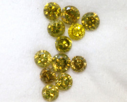 0.23- CTS  YELLOW  DIAMONDS  FACETED PARCEL ( 12 PCS) SD-385