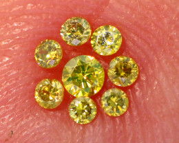 0.12- CTS  YELLOW  DIAMONDS  FACETED PARCEL ( 8 PCS) SD-386