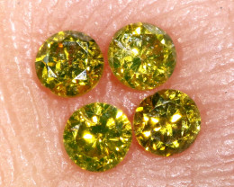 0.13- CTS  YELLOW  DIAMONDS  FACETED PARCEL ( 4 PCS) SD-390