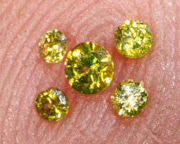 0.09- CTS  YELLOW  DIAMONDS  FACETED PARCEL ( 5PCS) SD-391