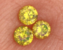 0.12- CTS  YELLOW  DIAMONDS  FACETED PARCEL ( 3 PCS) SD-395