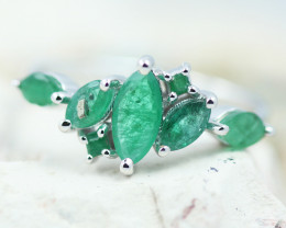 Earthy 10K White Gold Emerald Ring 10 - RE 12424