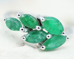 Earthy 10K White Gold Emerald Ring 14 - RE 12448