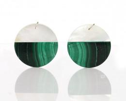 New design! Shell and Lapis Lazuli Intarsia Round Gemstone Earrings Bead, 3