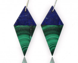 New design! Malachite and Lapis Lazuli Intarsia Diamond Gemstone Earrings B