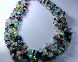669 CT Natural - Unheated  Multi  Fluorite   Beads Necklaces