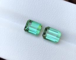 3.40 Ct Natural Green Transparent Tourmaline Gemstones Pairs
