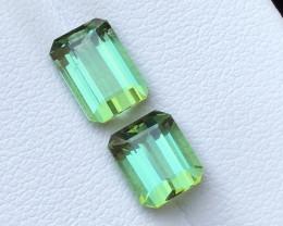 3.60 Ct Natural Green Transparent Tourmaline Gemstones Pairs