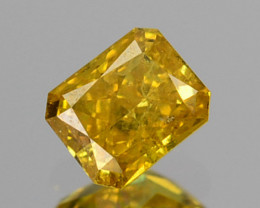 ~UNTREATED~ 0.17 Cts Natural Diamond Fancy Yellow Octagon Cut Africa