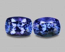3.10 Cts 2pcs Amazing rare Intense Blue Color Natural Tanzanite Gemstone