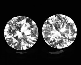 ~UNHEATED~ 7.83 Cts Natural Sparkling White Zircon 2Pcs Round Cut Cambodia