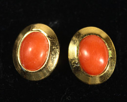 Red Coral Earrings  on Silver plated Gold