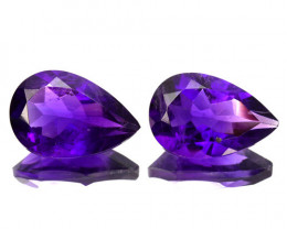 5.27 Cts Natural AAA Purple Amethyst 12x8mm Pear Cut 2Pcs Bolivia