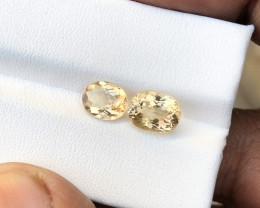 2.90 Ct Natural Golden Transparent Tourmaline Gems Pairs