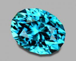 Flawless, custom cut natural fiery blue zircon.